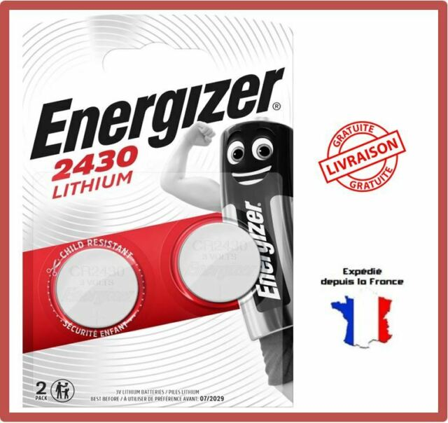 2 Piles Bouton CR2430 Energizer 3V Lithium DL2430 K2430L cell exp 2029 Blister