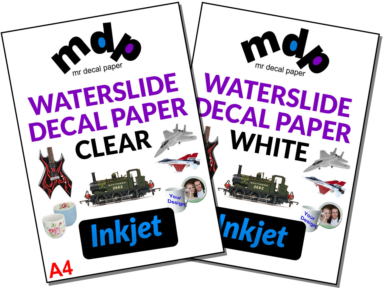 inkjet waterslide decal paper You cannot use inkjet paper in a laser printer or laser paper in an inkjet printer 20 x a4 size sheets of printable (10 sheets) clear and (10 sheets) white inkjet water slide transfers / decal papers | ebay.