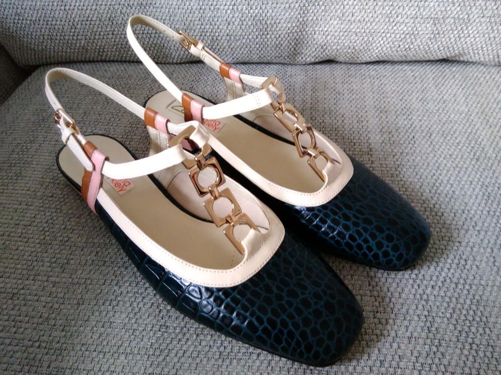 Orla Kiely Clark's, Barbara Blu Navy Scarpe Di Pelle, Regno Unito misura 5.5, EUR 39 vintage