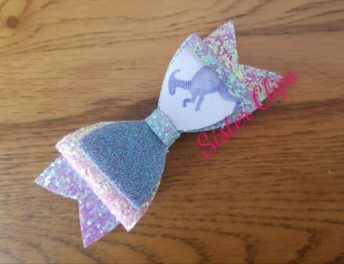 "Girls handmade rainbow lilac purple dinosaur glitter 4/"" bow hair clip"