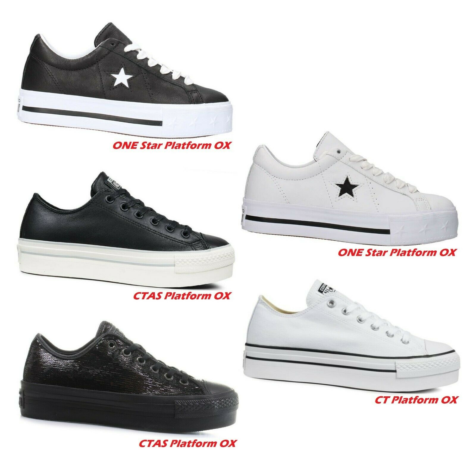 Chuck Taylor CONVERSE All Star ct platform ox scarpe donna bambina zeppa bianca