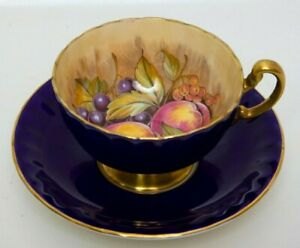 Aynsley-Teacup-and-Saucer-Cobalt-Blue-and-Gold-ORCHARD-FRUIT-England-Bone-China