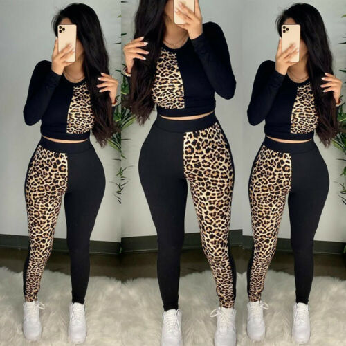 Details about  /Womens Leopard Print Sports Suit Yoga Top Leggings Gym Fitness Workout Outfits