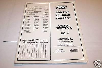 SOO LINE RAILROAD COMPANY system timetable #4 10//25//87