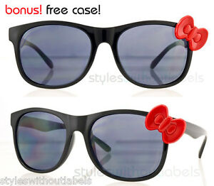 f43dd0bec0 NEW! Large Black Frame Red Bow Hello Kitty Cat Style Sunglasses ...