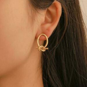Gold-Knot-Hoop-Small-Stud-Earrings-Simple-Temperament-Jewelry-Copper-Alloy-Q7O0