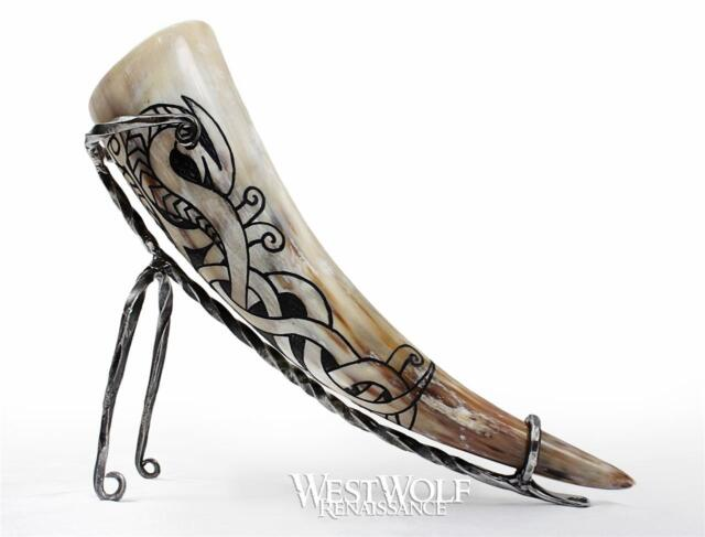 Medieval Feasting Buffalo Black Dining Drinking Bovine Horn Collectible