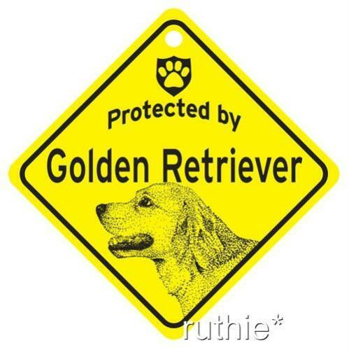 Protected by Golden Retriever Window Sign Made in USA