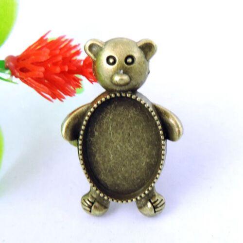 Vintage Bronze Alliage Ovale Bear Cameo Setting bagues réglables 17*17mm 16PCS