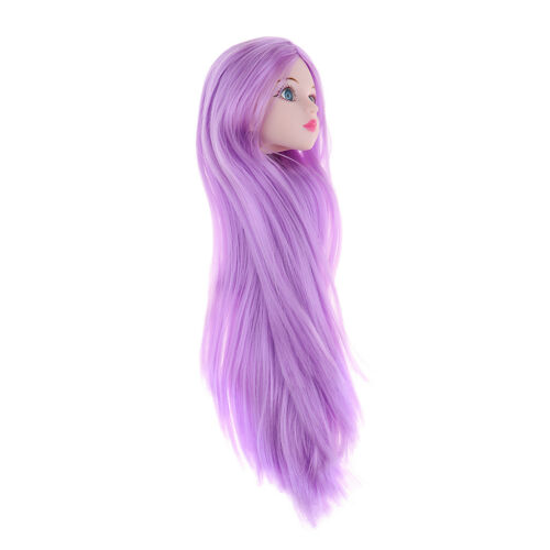 1//4 BJD Head Sculpt with Purple Hair Doll Replacement Body Part Accessory