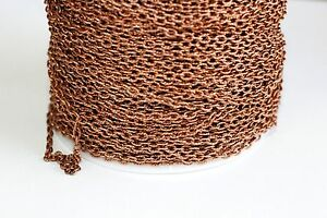 42ft Red Copper 4x3mm Cable Chain 1-2 day Shipping