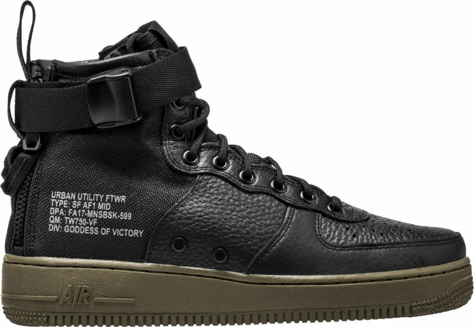 2018 Nike Air Force 1 SF AF1 Mid SZ 11.5 Noir Gum Special Field 917753-002