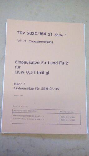 TDV582016421 SEM25 SEM 35 VEHCILE RADIO INSTALLATION INSTRUCTIONS MANUAL