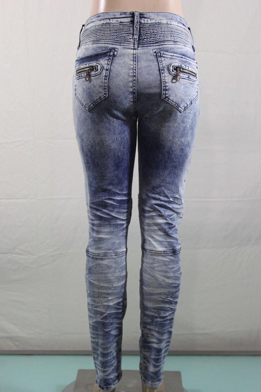 Echt Robin S Jeans Neu Damen Skinny Moto Motard Sz 36 Acid Wash USA