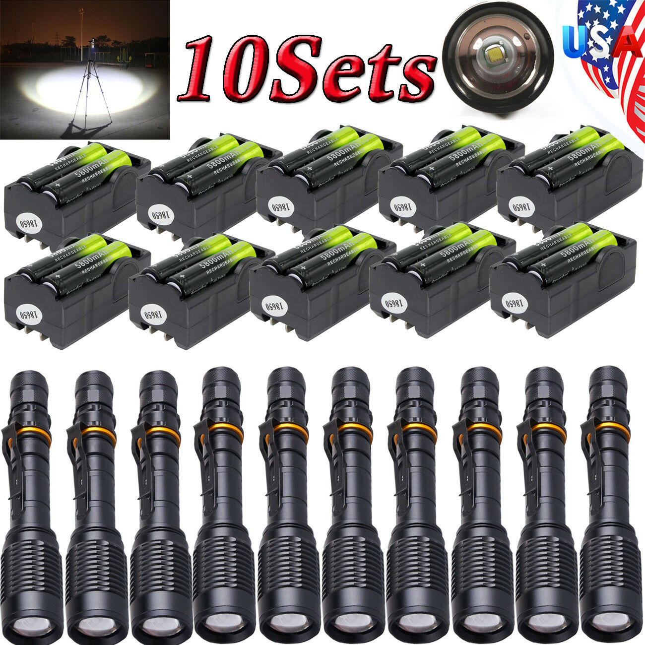 10Sets T6LED 90000LM Zoomable 5Modes Durable Flashlight Lamp Torch+18650+Charger