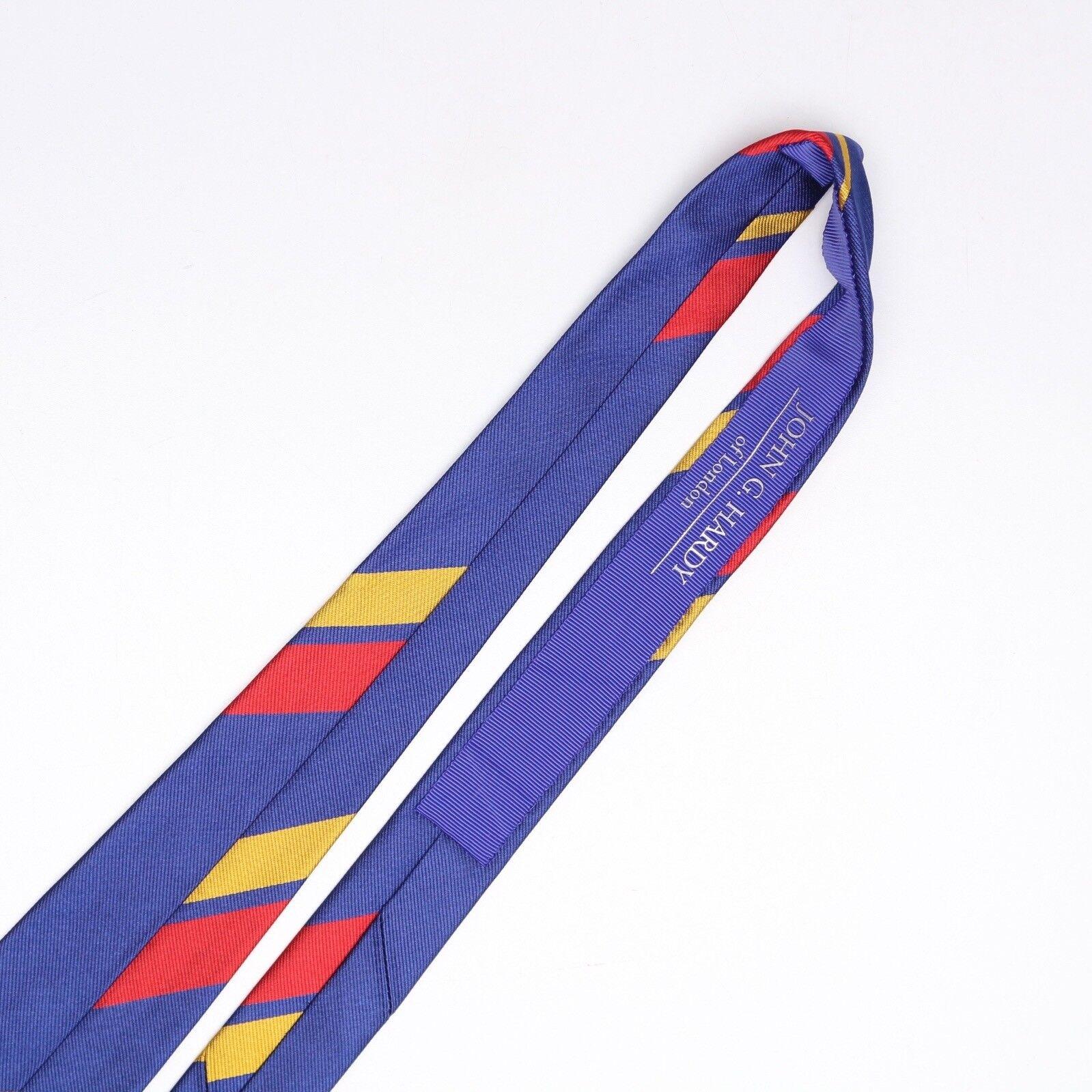 John G Hardy Herren Seidenkrawatte Seidenkrawatte Seidenkrawatte Groß Maßstab Regiment Streifen Blau Rot Gelb | Verpackungsvielfalt  680568