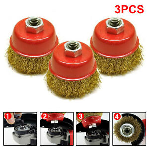3pc-Rotary-Brass-Steel-Wire-Brush-Crimp-Cup-Set-65mm-Wheel-Angle-Grinder