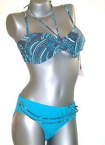 TRIUMPH Bikini Set - 40 B-Blu turchese forma sexy sh Nuovo