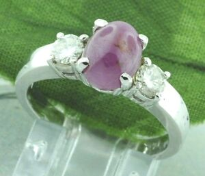 2-74-ct-14k-Solid-White-Gold-Oval-Natural-Cabochon-Ruby-amp-Diamond-Ring-3-stone