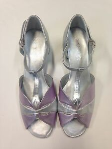 Equity 5582 Women's Size 7M (Fits 8.5-9) Silver & Lilac Ballroom Shoe w/ Defects