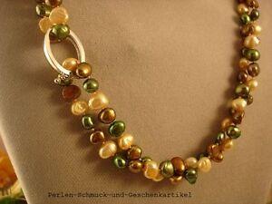 Schicke-Kette-100cm-Kettenverkuerzer-Echte-Perlen-einzeln-geknotet-Geschenk