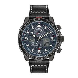 Men-039-s-Citizen-Promaster-Skyhawk-A-T-Black-Leather-Strap-Watch-JY8077-04H