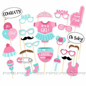 25 Baby Shower Girl Photo Booth Props Gender Reveal Selfie New Born Party Game 712641224324