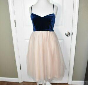 LC-Lauren-Conrad-Runway-Dress-Size-12-Velvet-Bodice-Tulle-Skirt-Blue-Pink
