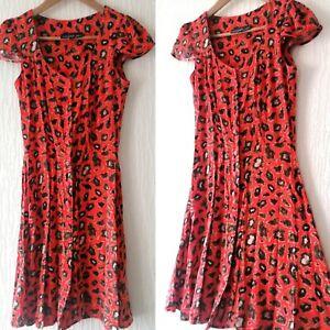 Topshop Tall Red Orange Leopard Animal Print Fit Flare Dress Size Uk 8 Long Tall Ebay