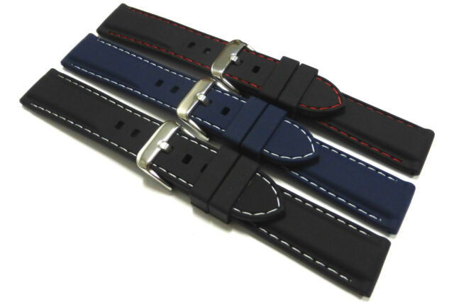 Black or Blue Silicone Rubber Watch Strap + Choice of stitching. 20mm or 22mm