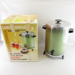VTG-WEST-BEND-Avocado-green-COFFEE-percolator-12-to-30-cup-with-box-CLEAN-WORKS