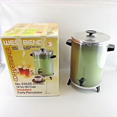 VTG WEST BEND Avocado green COFFEE percolator 12 to 30 cup with box CLEAN WORKS