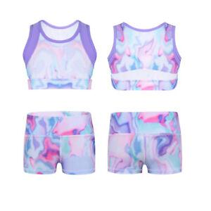 Kid-Girl-Dancewear-Gymnastics-Ballet-Leotard-Colorful-Crop-Top-Shorts-Sportswear