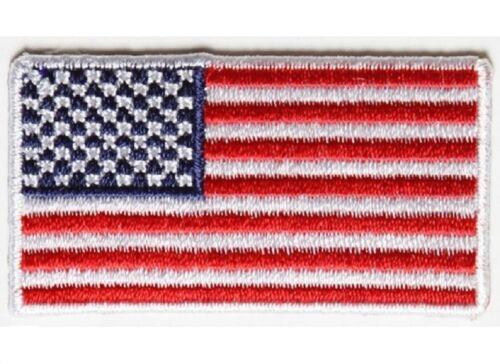 "G13 2/"" x 1.1/"" MINI AMERICAN FLAG w// WHITE Border iron on patch 4935 Cap Hat"