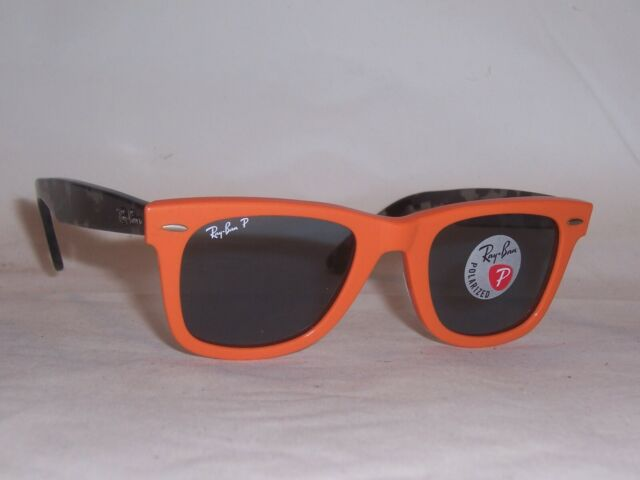 NEW RAYBAN SUNGLASSES WAYFARER 2140 124252 ORANGE/BLUE POLARIZED 50MM
