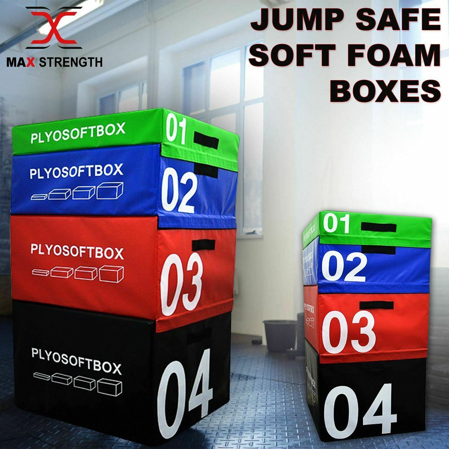Plyometric Jump Box Soft Foam Velcro Training Gym Fitness Crossfit Jumping Set