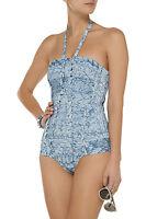 $1700 Authentic Herve Leger Bandage Blue Bathing Swimsuit Cutout Small