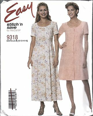 UNCUT Vintage McCalls Sewing Pattern Misses Easy Fit and Flare Dress 9318 10-16