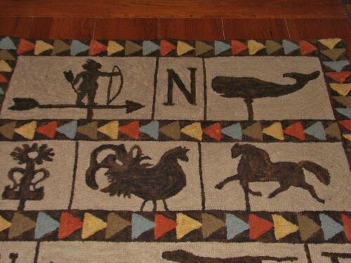 """PRIMITIVE HOOKED RUG PATTERN ON MONKS /""""WEATHERVANES OF NEW ENGLAND/"""""""