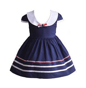 165fe08c90bb7 Cinda Filles Coton Robe de fête bleu rouge 3 6 9 12 18 mois 3 4 5 6 ...
