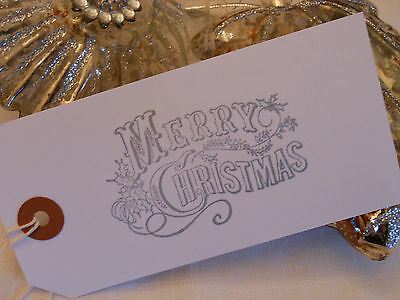 10  White Silver Merry Christmas Gift Tags  Handmade  Vintage Style