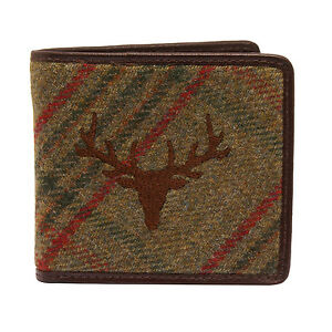 PellMell-Green-Islay-Tweed-Stag-Wallet-with-Coin-Purse-and-Brown-Leather-Trim