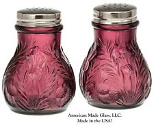 Amethyst Glass Inverted Thistle Pattern Salt & Pepper Shaker Set - Mosser USA