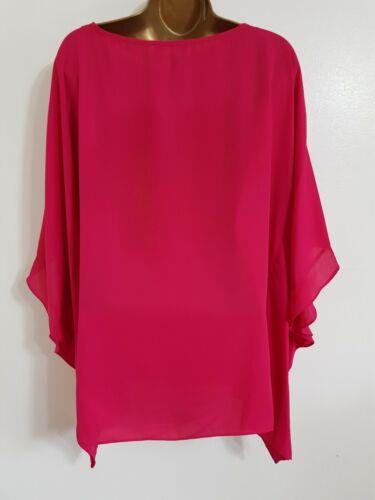 NEW Ex Wallis 8-20 Hot Pink Batwing Sleeve Chiffon Keyhole Tunic Top Blouse