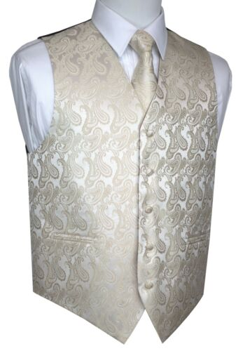 TIE /& HANKIE SET MEN/'S CHAMPAGNE PAISLEY TUXEDO VEST WEDDING DRESS FORMAL PROM