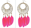 thumbnail 3 - TOPSHOP LARGE BEAD & PINK FEATHER CHANDELIER EARRINGS NEW