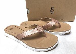 87851af9af6 Details about UGG Australia Lorrie Metallic Leather Sandals 1019864 Rose  Gold Flip Flops Women