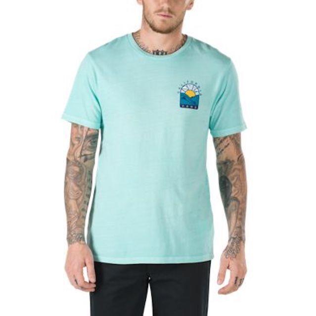 23b567e45d62c1 VANS Shoes Mens SS Cali Hills Tee Shirt Aqua Green Size XXL Vintage Wash  for sale online