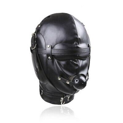 Hood Mouth Gag Blindfold BDSM Full Head Mask NEW Black Faux Leather Bondage UK