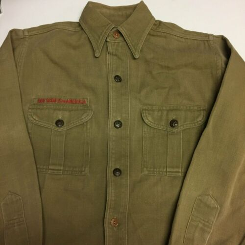 Boy Scout Twill Uniform Shirt Sweet Orr Vtg 40s Sz